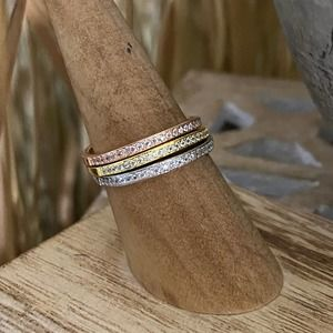 Sterling Silver Triple Band Ring Set size 7